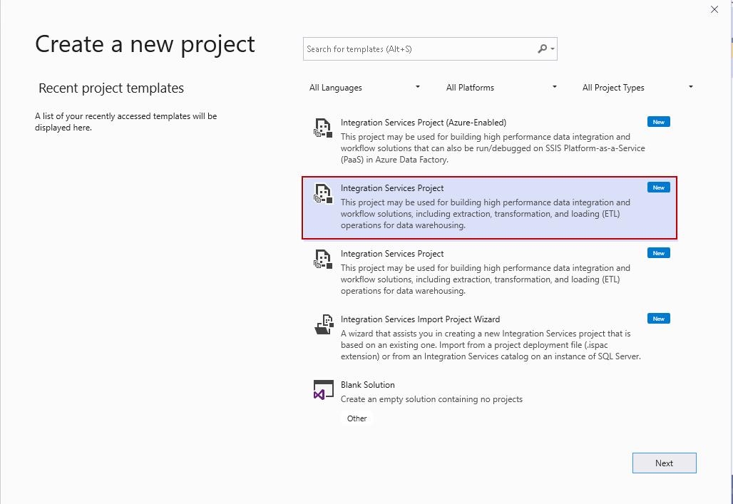 Launch Integration Services project