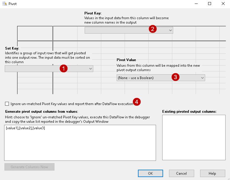 Pivot configuration options