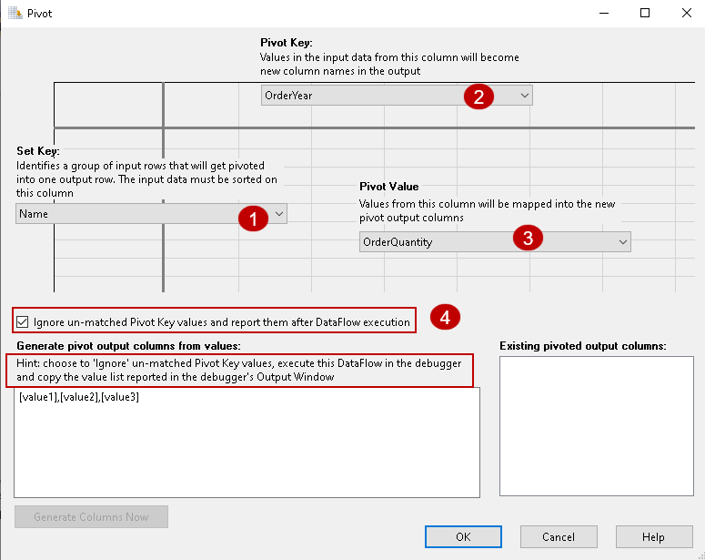 Specify the inputs in Pivot