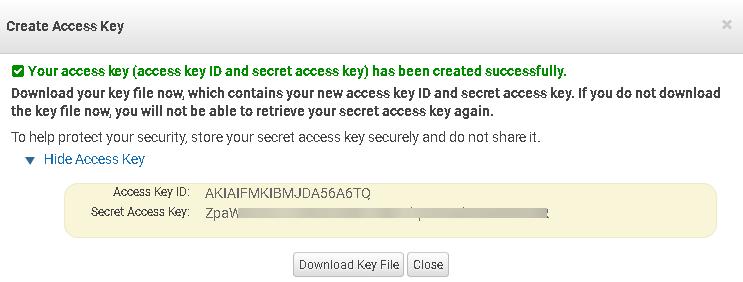 Check New Access Key and secret key