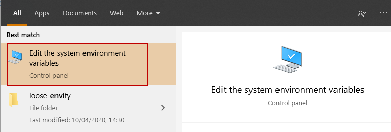 Edit the system environment variables