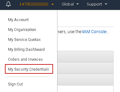 Security credentials for AWS account
