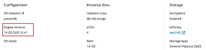 AWS RDS SQL Server  version