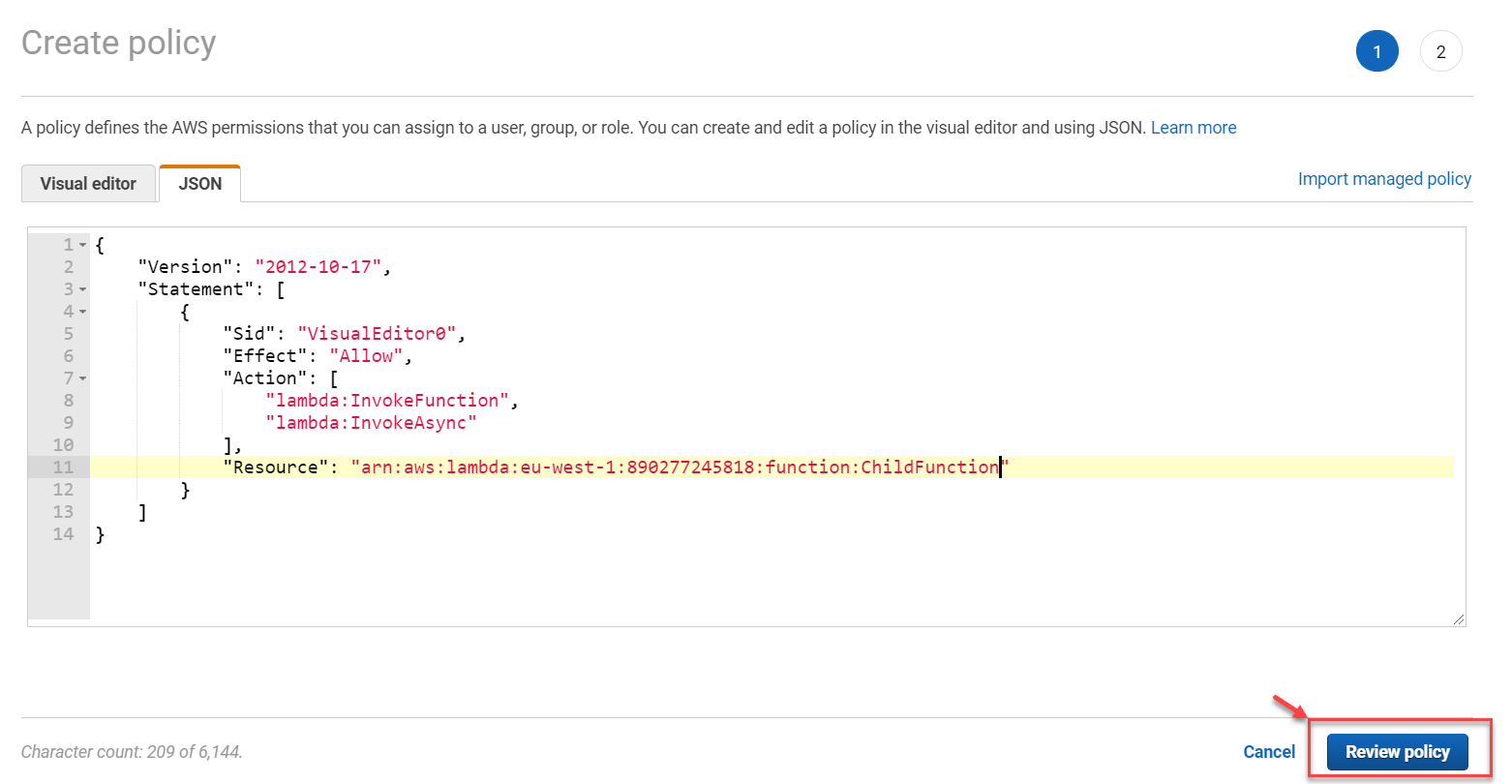 Adding Policy JSON