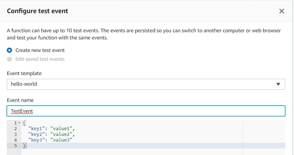 Configuring Test Event