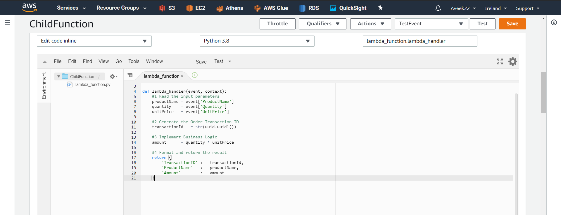 Copying code to Lambda Function