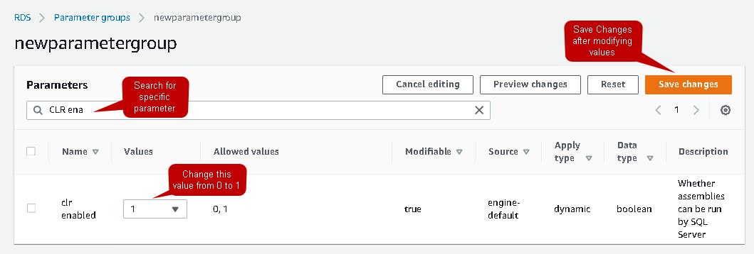 Create a custom parameter group