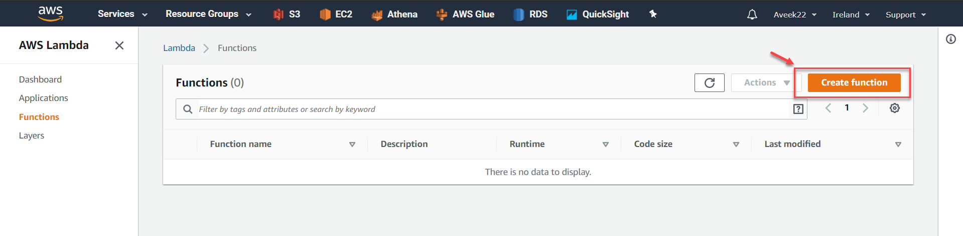 Create AWS Lambda Function