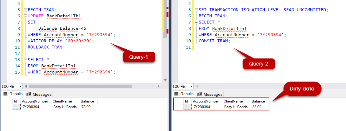 SQL Server dirty read example.