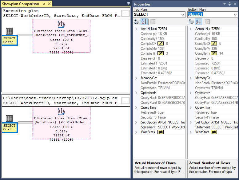 SQL Server execution plan compare