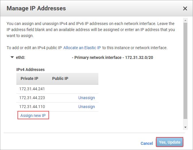 Node 1 IP addresses