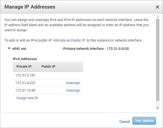Node 2 IP addresses