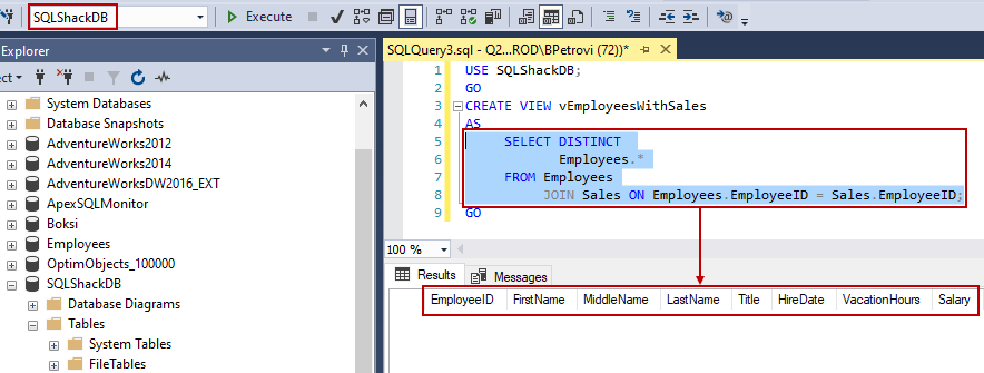 CREATE VIEW SQL script for creating a simple view