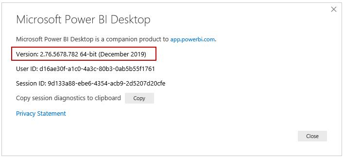 Power BI Desktop version