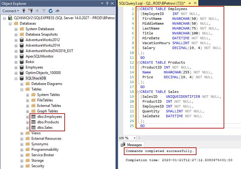 T-SQL script for creating three sample tables in SQLShack database