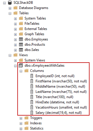 The view in Object Explorer as a result of a successfully executed CREATE VIEW SQL statement