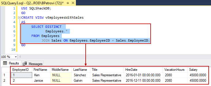 The results returned by SELECT part of the CREATE VIEW SQL script