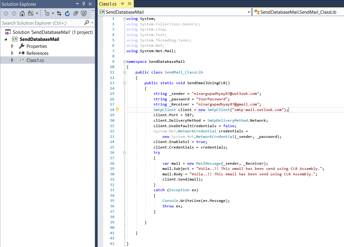 C# Code to create .Net class library