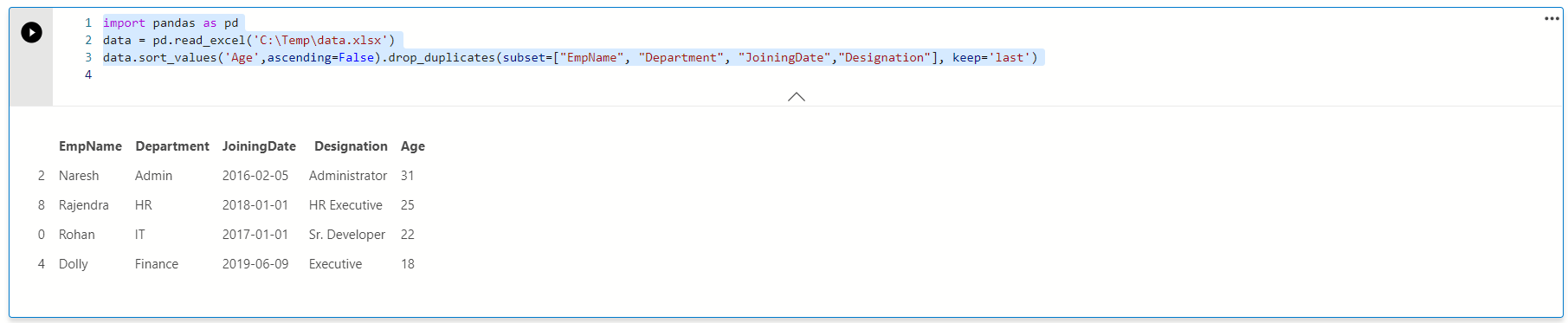 Remove duplicates by keeping minimum value