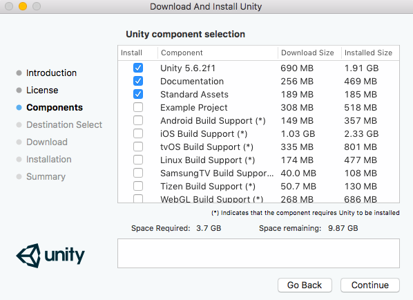 Installing Unity 3D Game Engine on macOS X