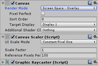 Canvas properties in Inspector view