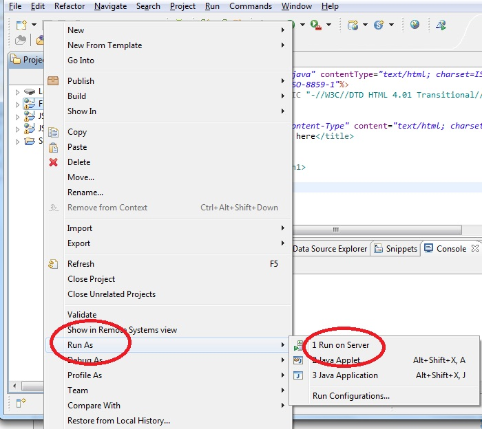creating a JSP Page in Eclipse
