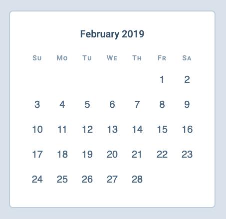 A calendar built with CSS Grid