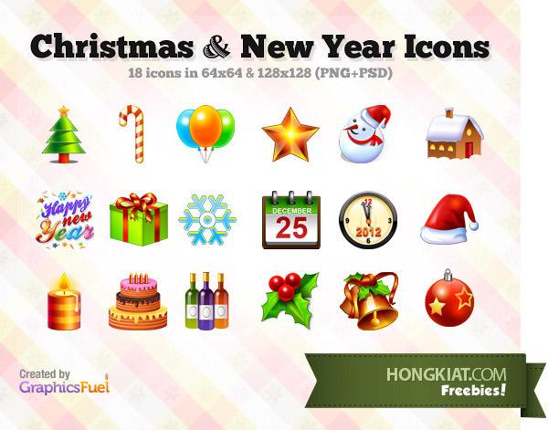 圣诞节和新年的图标