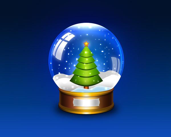 圣诞雪花玻璃球