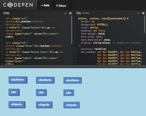 Codepen开源平面按钮css3 html5