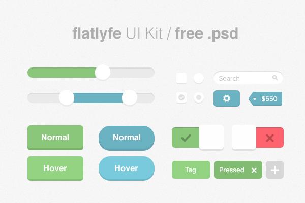 flatlyfe ui工具包psd免费赠品图形网页设计