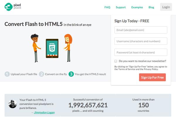 将Flash图形转换为html5 css3网站