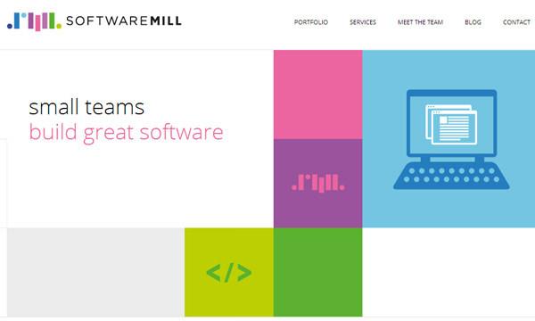 Softwaremill开发团队平面网站布局