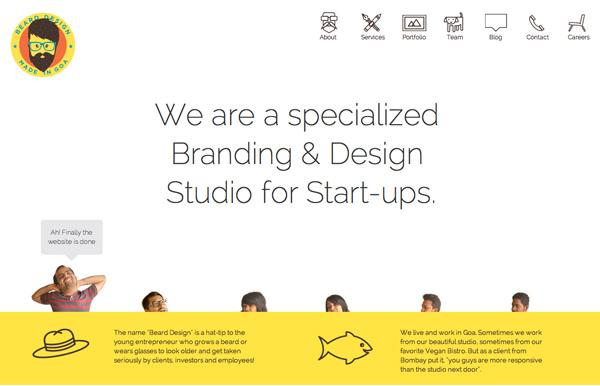 扁平黄白色设计机构主页