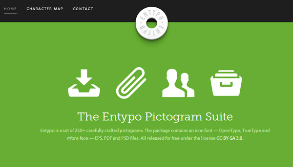 entypo平面图标网站首页布局