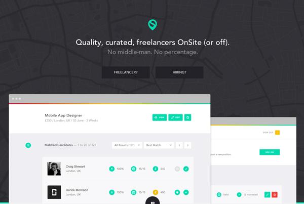现场质量策划的自由职业者平面首页设计