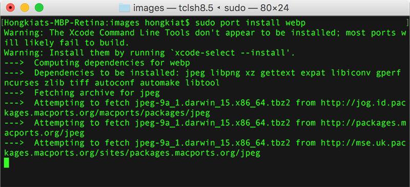 sudo端口安装webp