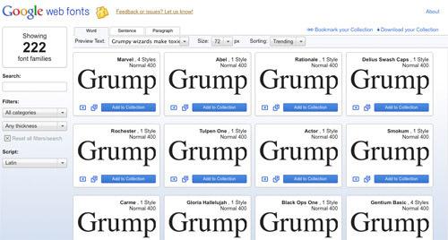 谷歌网页字体
