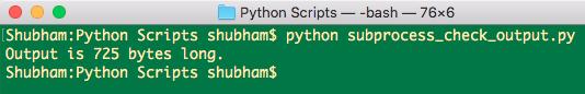 Python subprocess check output