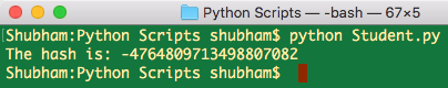 python hash object