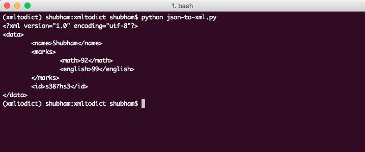 python json to xml