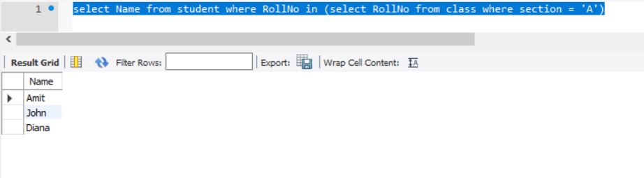 SQL nested query example