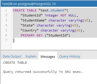 SQL Create Table - PostgreSQL