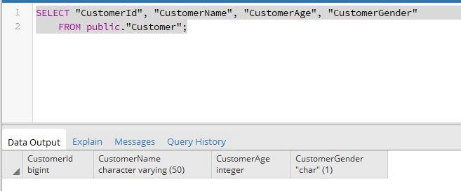 PostgreSQL SELECT Table
