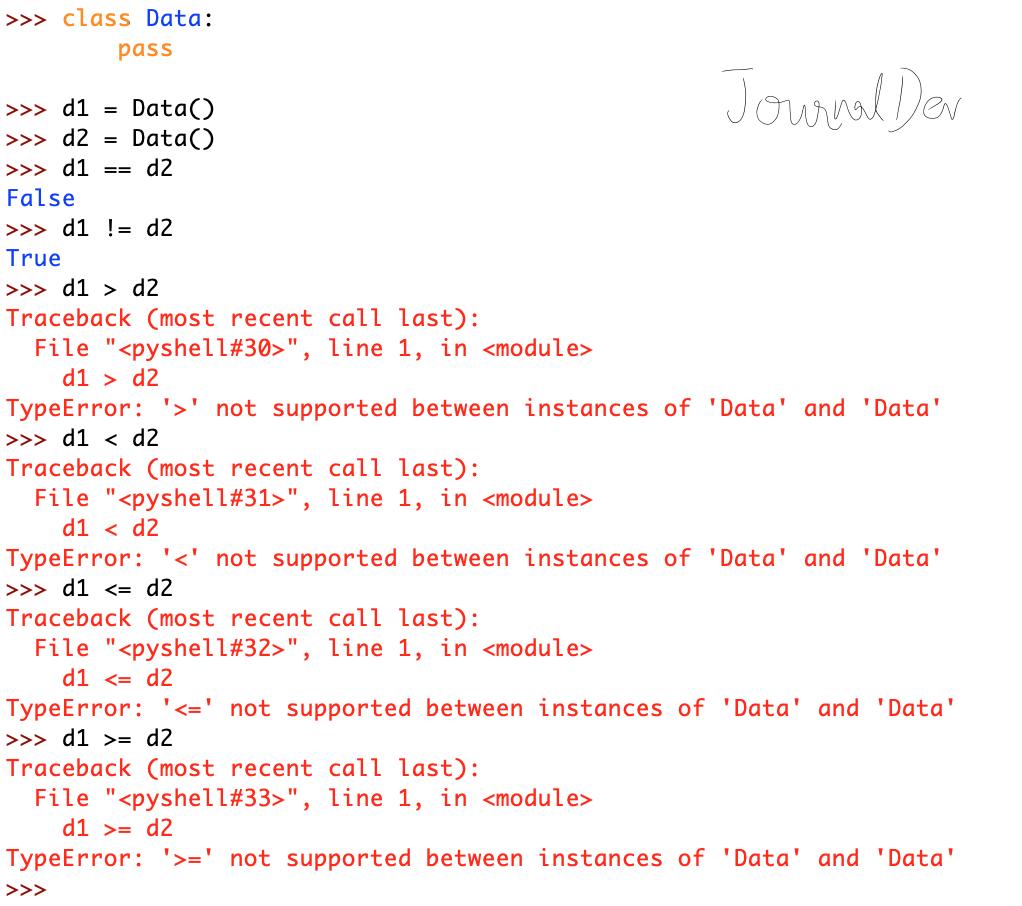 Python Comparison Operator Overloading Error