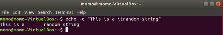 Linux echo tab example