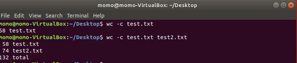 Linux wc -c --bytes Option