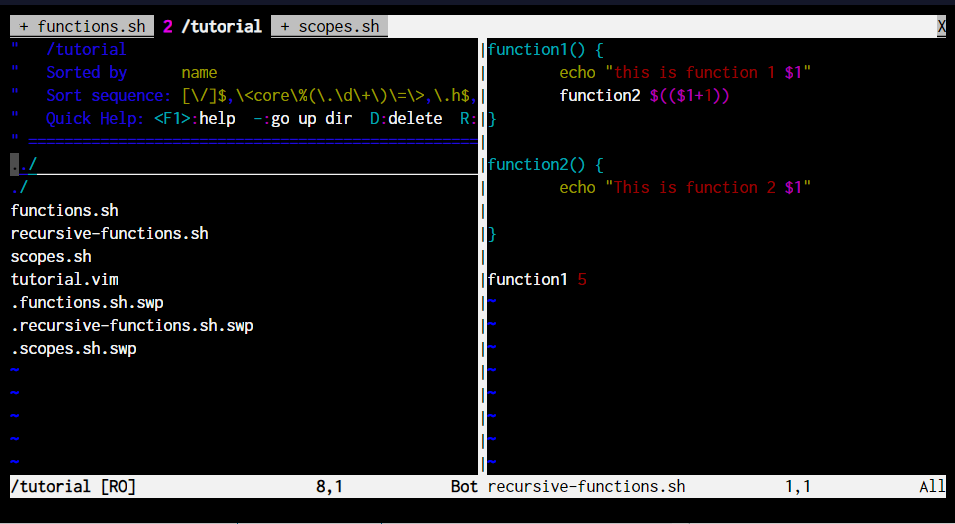 V Explore VIM linux vim commands