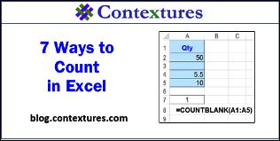 7 Ways to Count in Excel http://www.contextures.com/xlFunctions04.html
