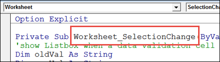 Worksheet_SelectionChange code http://blog.contextures.com/
